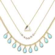 Decree® 3-pc. Layered Aqua Stone and Crystal Necklace Set