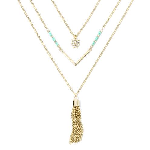 Decree® 3-pc. Owl and Fringe Layered Necklace Set