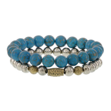 jcpenney.com | Dee Berkley Mens Genuine Turquoise and Pyrite Stretch Bracelets