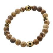 Dee Berkley Mens Genuine Jasper Bead and Brass Skull Stretch Bracelet