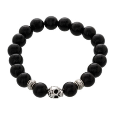 jcpenney.com | Dee Berkley Mens Genuine Black Agate Bead Skull Stretch Bracelet