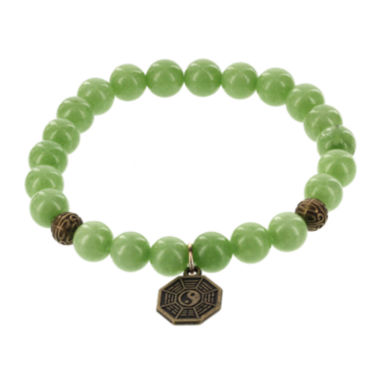 jcpenney.com | Dee Berkley Mens Genuine Green Agate Bead Spiderweb Stretch Bracelet