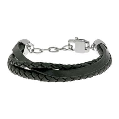 jcpenney.com | Mens Stainless Steel and Leather Bracelet