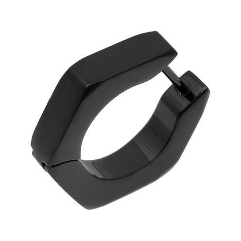 Mens Stainless Steel & Black IP Hexagon Single Huggie Hoop Earring
