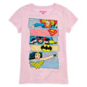 Super Hero Graphic Glitter Tee - Girls 7-16