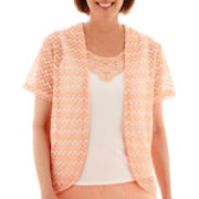 Alfred Dunner® Key Largo Short-Sleeve Textured Layered Top - Petite