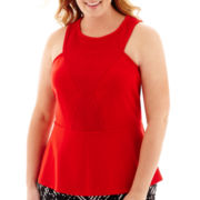 Worthington® Sleeveless Lace-Trim Peplum Top - Plus