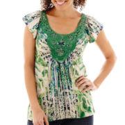Unity® Cap-Sleeve Crochet-Trim Legacy Knit Sublimation Top - Petite