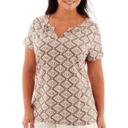 St. John's Bay® Short-Sleeve Shirred Split-Neck T-Shirt - Plus