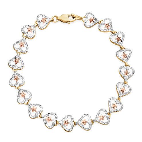 Womens 7 Inch 10K Gold Link Bracelet