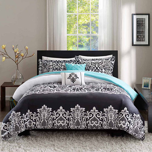 Intelligent Design Hazel Damask + Scroll Duvet Cover Set