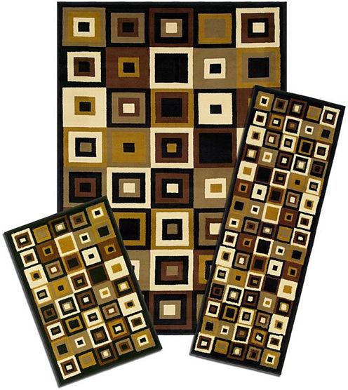 Achim Southwest Tiles Rectangular 3-pc. Rug Set