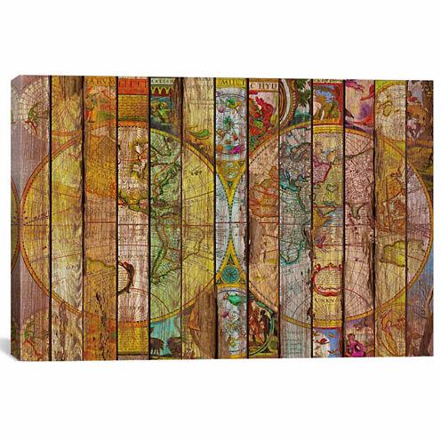 Icanvas Around The World In Thirteen Maps Canvas Art
