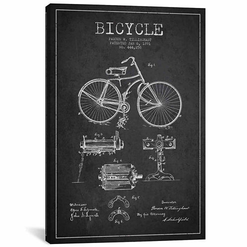 Icanvas Bike Charcoal Patent Blueprint Canvas Art