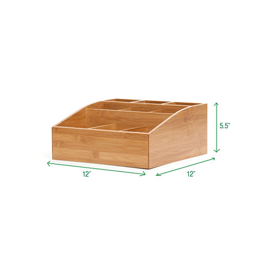 Mind Reader 'Square' 9 Compartment Condiment Organizer, Bamboo Wood