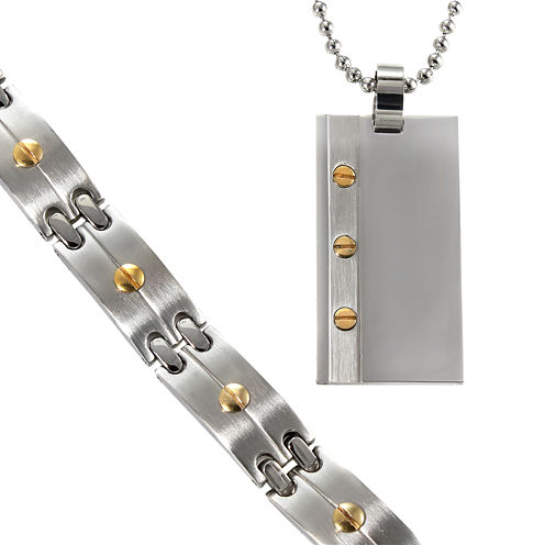 Men's Two-Tone Stainless Dog Tag & Bracelet in Valet Box