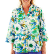Alfred Dunner® Cool Breeze Windowpane Floral Print Shirt - Plus