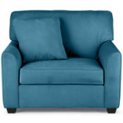 Fabric Possibilities Sharkfin-Arm Chair-and-a-Half with Sleeper