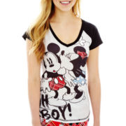 Disney Mickey Mouse Graphic Short-Sleeve Raglan Sleep Tee