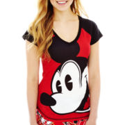 Disney Mickey Mouse Graphic Raglan Sleep Tee - Juniors