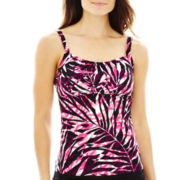 St. John's Bay® Palm Print Peasant Tankini Swim Top