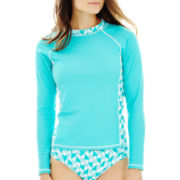 jcp™ Long-Sleeve Rash Guard Swim Top