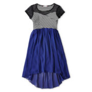 Speechless Cap-Sleeve Chiffon Striped Dress - Girls 6-16