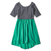 My Michelle Elbow-Sleeve Chevron Chiffon Bow Back Dress - Girls 6-16