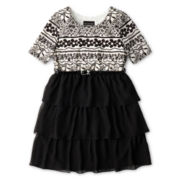 Disorderly Kids® ¾-Sleeve Chiffon Tiered Dress - Girls Plus