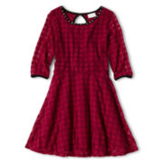 Sally M™ Sally Miller Short-Sleeve Textured Skater Dress - Girls 6-16