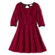 Sally M™ Sally Miller Short-Sleeve Textured Skater Dress - Girls 6-16