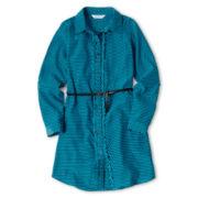 Sally M™ Sally Miller Long-Sleeve Ruffle Shirt Dress - Girls 6-16