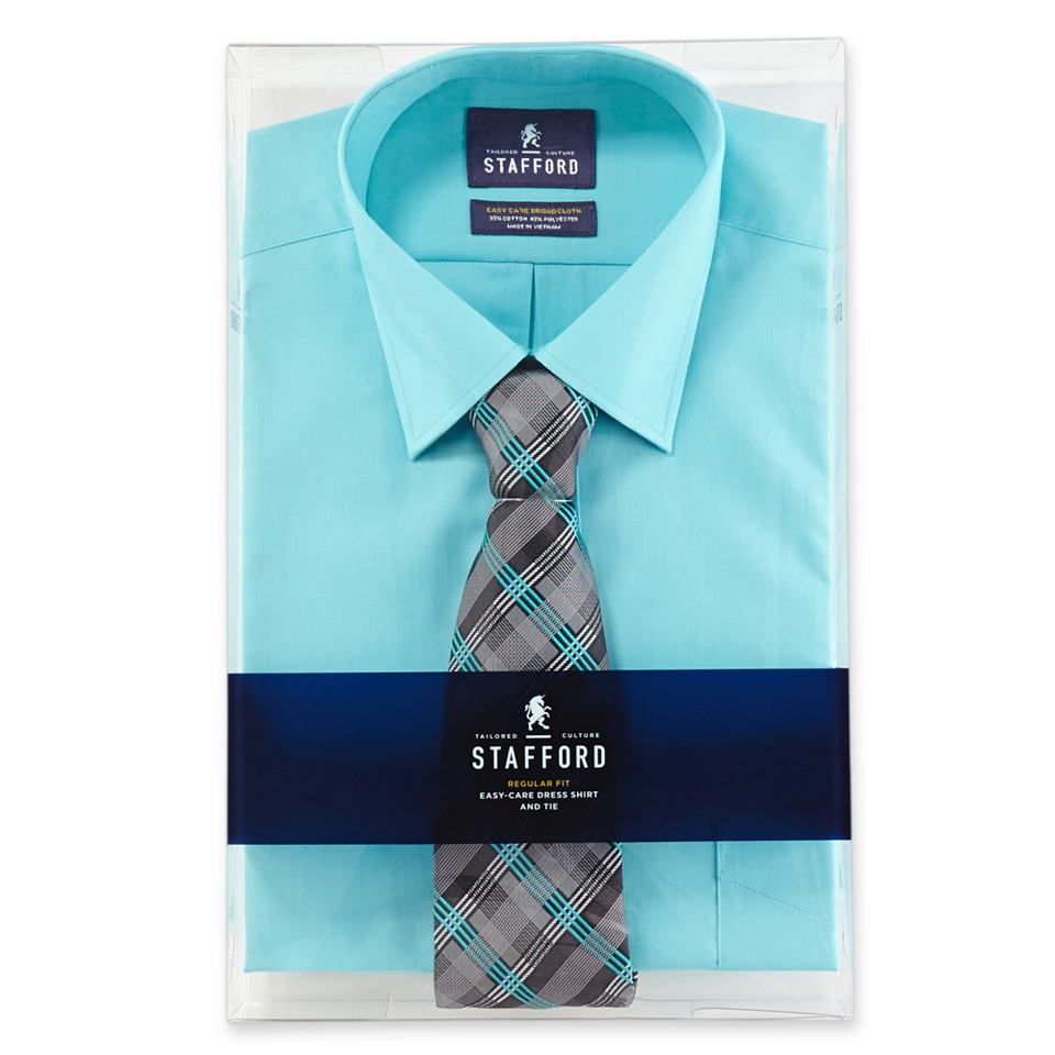 Stafford Easy Care Dress Shirt Tie Boxed Set Rain Forest Mens