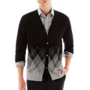 JF J. Ferrar® Argyle Cardigan Sweater