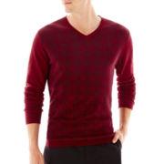JF J. Ferrar® Check Plaid V-Neck Sweater