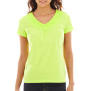 St. John's Bay® Ruffle-Trim V-Neck Top - Petite