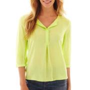 jcp 3/4-Sleeve Peasant Shirt