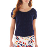 St. John's Bay® Short-Sleeve Embroidered Smocked Peasant Top