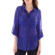 Como Black 3/4 Roll-Sleeve Button-Front Shirt - Tall