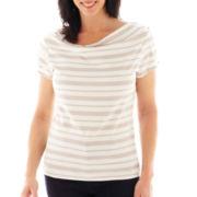 Lark Lane® Short-Sleeve Draped Boatneck Striped Top