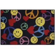 Smiley Peace Signs Rectangular Rug