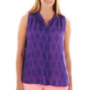 jcp™ Sleeveless Shirred Top - Plus
