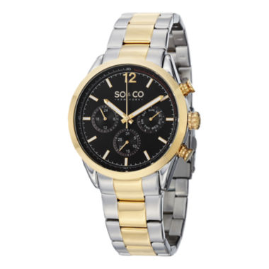 jcpenney.com | SO & CO NY Mens Monticello Stainless Steel Two-Tone Bracelet Sport Quartz Watch J151P52