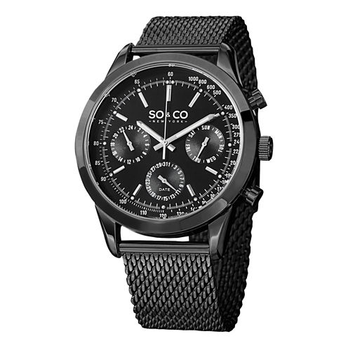 SO & CO NY Mens Monticello Stainless Steel Mesh Sport Quartz Watch J152P13