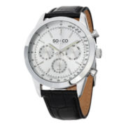 SO & CO NY Mens Monticello Leather Sport Quartz Watch With Am/Pm Indicator J152P14