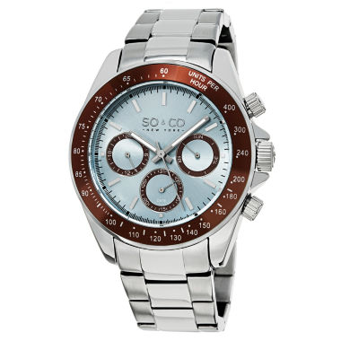 jcpenney.com | SO & CO NY Mens Monticello Stainless Steel Bracelet Brown Bezel Sport Quartz Watch J150P65