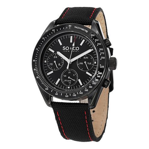 SO & CO NY Mens Monticello Sport Nylon Covered Genuine Leather Strap Quartz Watch J152P25