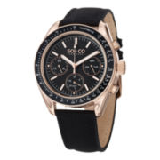 SO & CO NY Mens Multifunction Monticello Leather Sport Quartz Watch J152P26