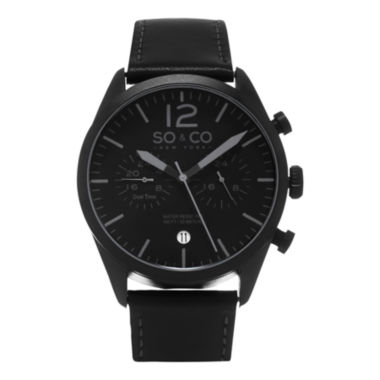 jcpenney.com | SO & CO NY Mens Monticello Leather Sport Quartz Dual Time Watch J154P51