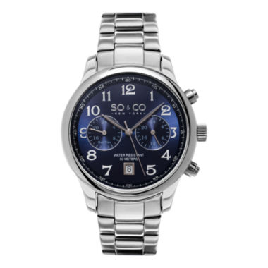 jcpenney.com | SO & CO NY Mens Monticello Stainless Steel Bracelet Blue Dial Dress Quartz Dual Time Watch J154P55